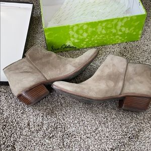 Sam Edelman Petty booties in Putty suede.